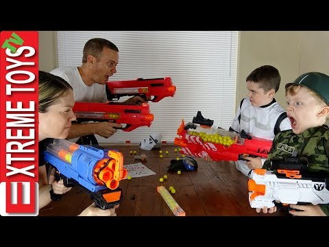 Parents Vs  Kids Nerf War! Ethan and Cole make the Sneak Attack Squad with Nerf Rivals!