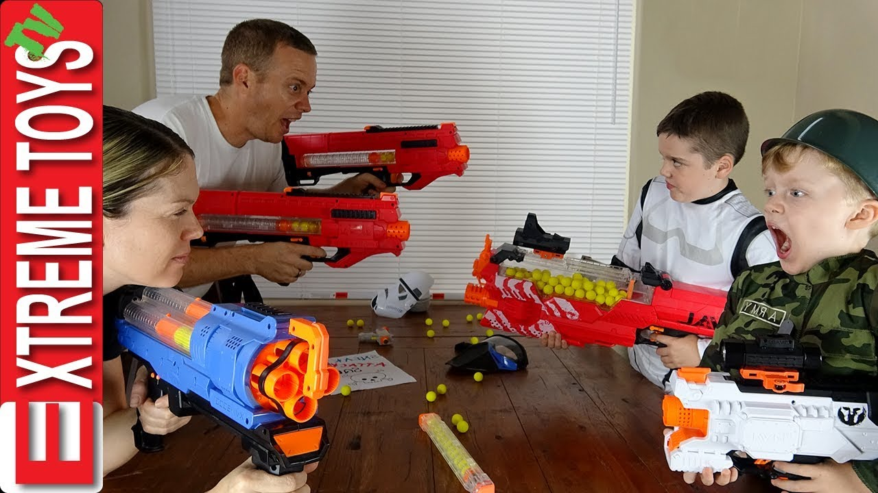 Parents Vs Kids Nerf War! Ethan And Cole Make The Sneak