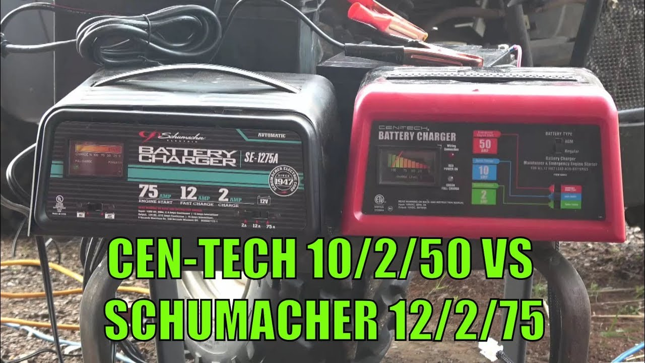 harbor freight cen tech 10 2 50 amp 12v charger with engine start item 60581 60653 vs schumacher [ 1280 x 720 Pixel ]