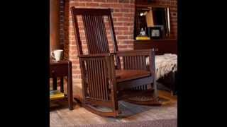 Province Mission Rocker - Walnut ; Wood Rocking Chair, Mission Arm Chair
