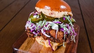 The Ultimate Buttermilk Fried Chicken Sandwich w/ Pimento Cheese & Pickle Slaw | TOM TO TABLE