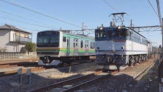 【EF65】高崎線 貨物(配給)列車:熊谷(タ)到着→入換/岡部到着(待避)→発車【DE10】③