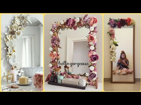 Diy Beautiful Mirror Decoration Ideas || Flower Mirror Decor || Handmade Mirror Decor Ideas