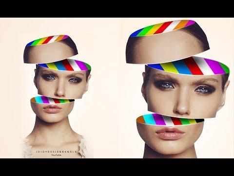 Photoshop Tutorial | Face Slice Color Effect | Ju Joy Design Bangla