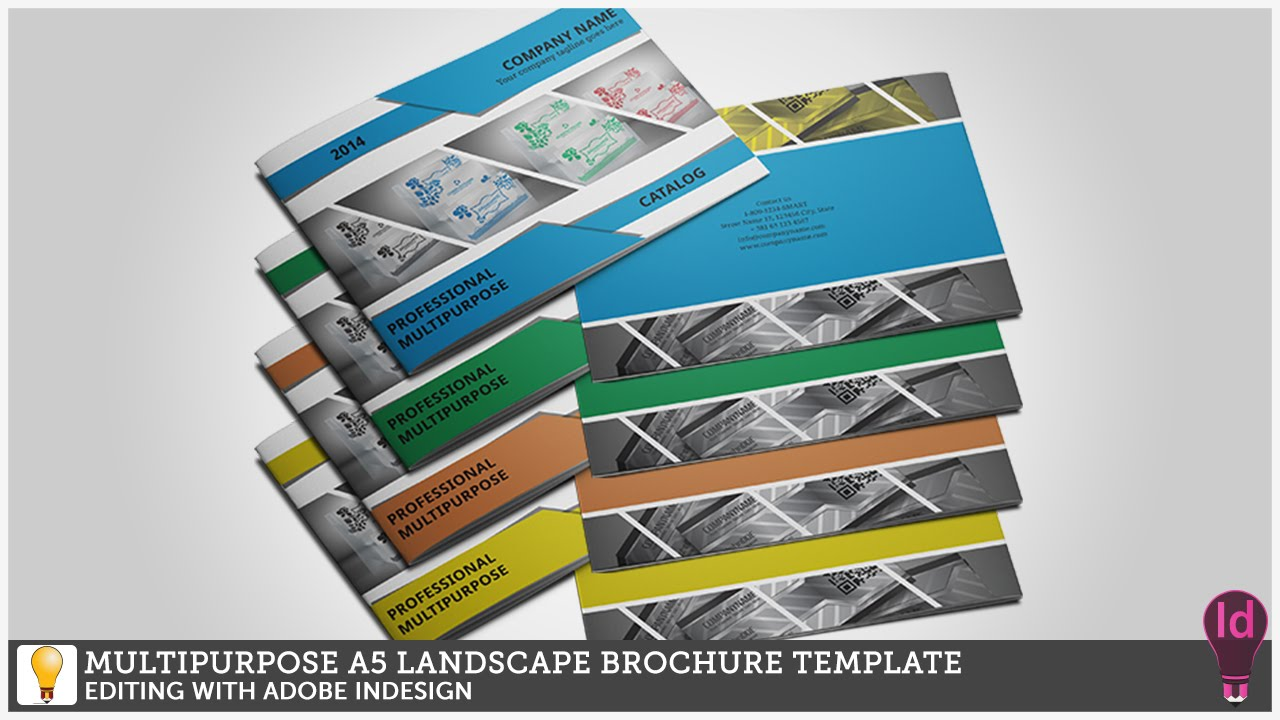 multipurpose a5 landscape brochure template editing with adobe indesign youtube