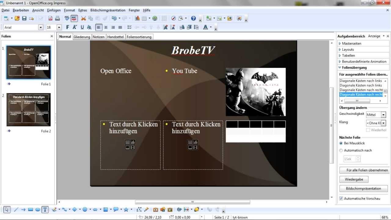 Open Office Tutorial #1 [German]- Powerpoint Präsentation anlegen ...