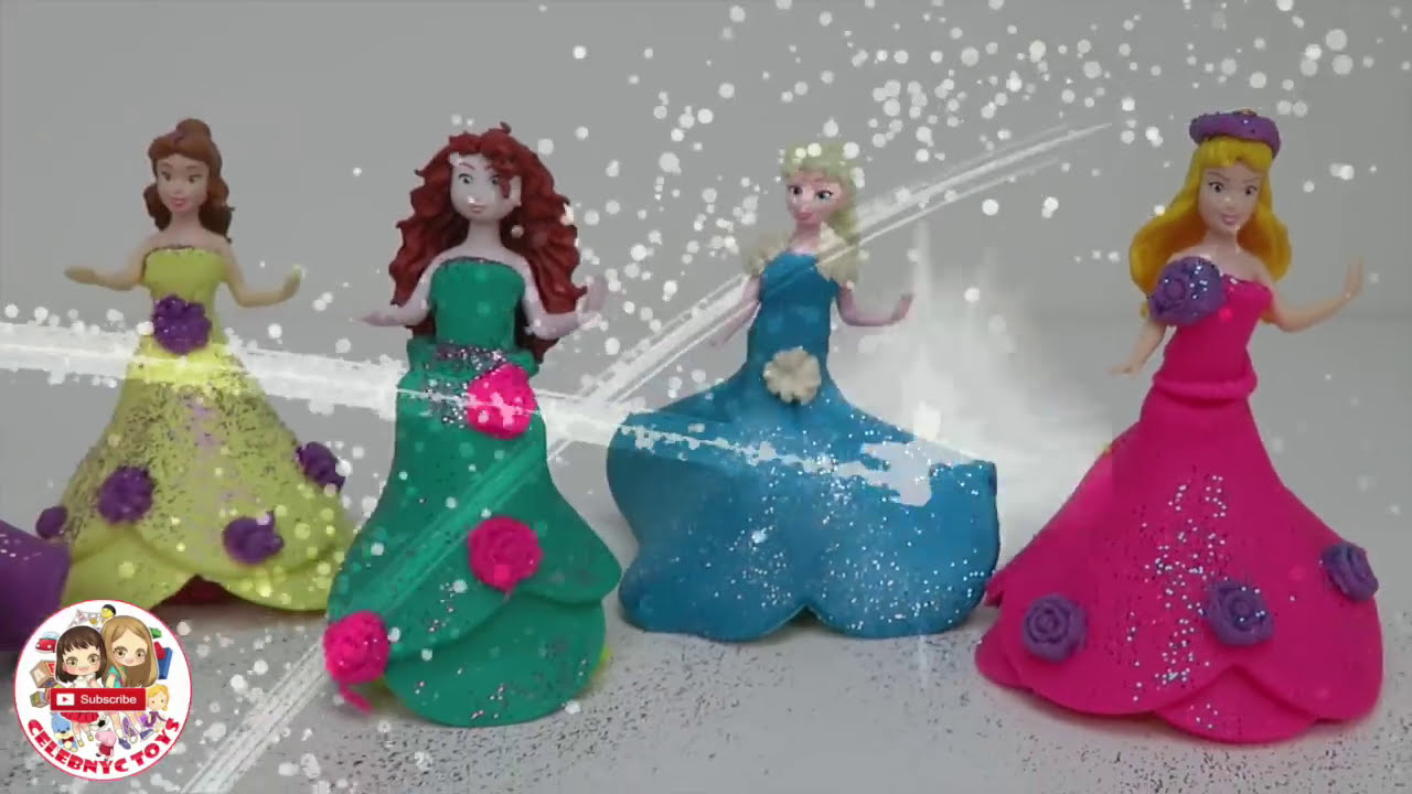 Play Doh MAGICLIP Glitter DIY Sparkle Disney Princess Clay ...