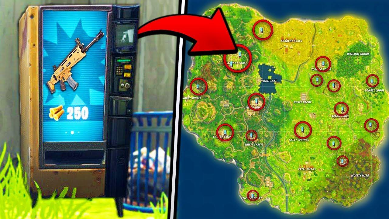 les emplacements des distributeurs d armes sur fortnite battle royale - distributeur automatique fortnite map
