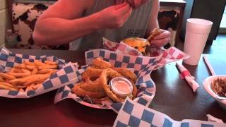 4 lbs burger, fries, onion rings, and dessert challenge