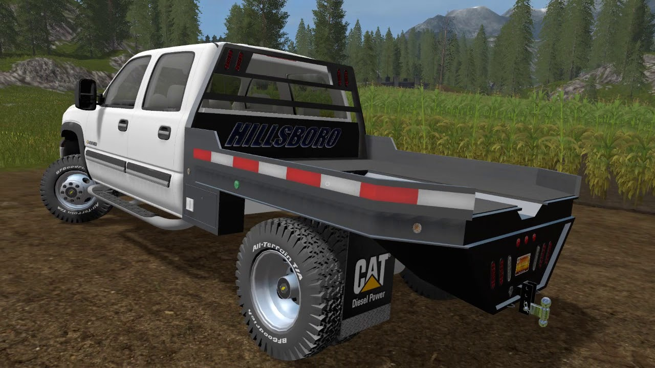 Farming simulator 17 mod demo on 2006 Chevy Flatbed Dually by AFT modding - YouTube