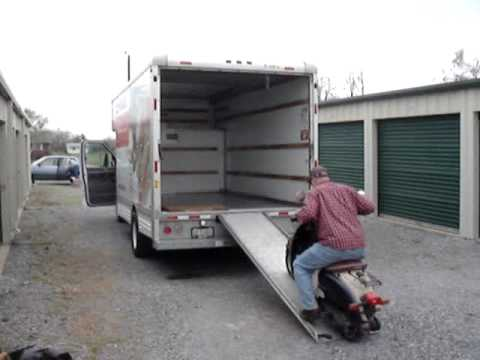 Loading The Scooter Into The U Haul Truck With A Flat Tire