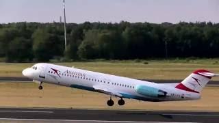 Best Sunlight! Austrian Airlines Fokker 100 OE-LVE OS 294 takeoff at Berlin Tegel Airport(, 2016-11-28T18:00:01.000Z)