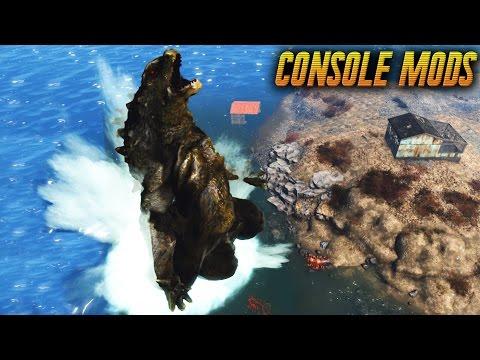 Fallout 4 Console Mods - FIGHTING GODZILLA! - KAIJU OF THE COMMONWEALTH
