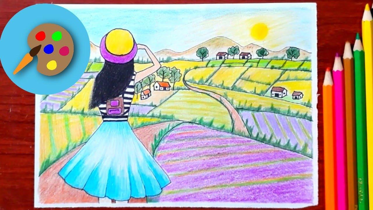 Vẽ cô gái đẹp ngắm phong cảnh quê hương – học vẽ tranh đơn giản