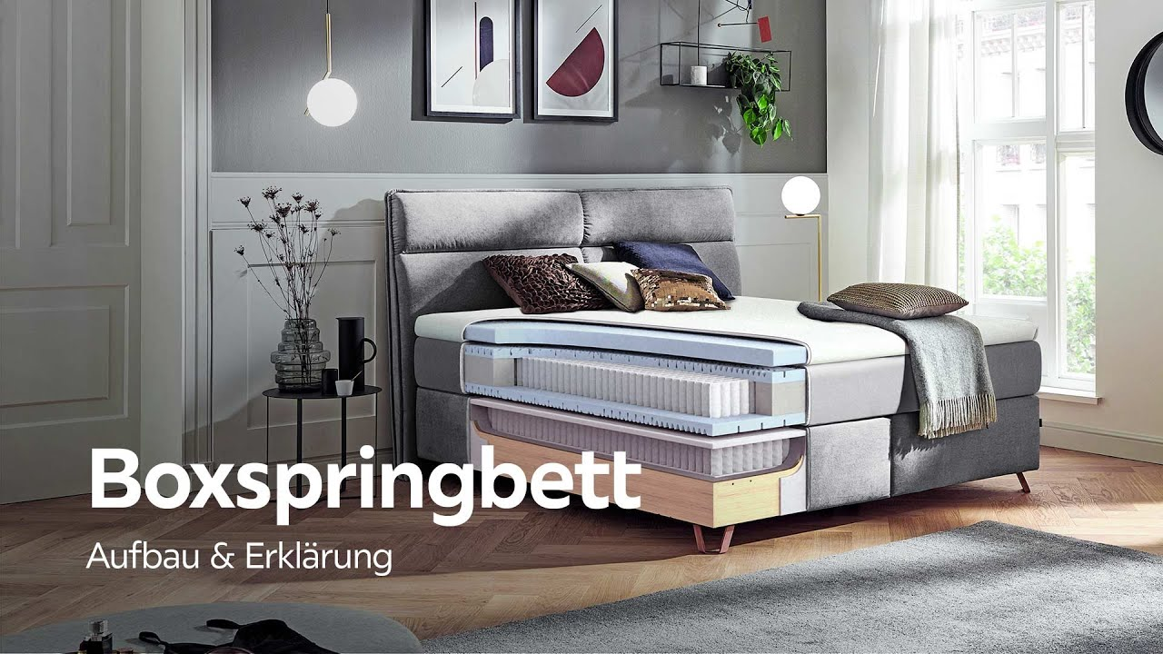boxspringbett aufbau und erkl rung xxxlutz boxspringbetten beratung youtube. Black Bedroom Furniture Sets. Home Design Ideas