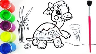 Cute Turtle coloring and drawing for Kids, Toddlers by Toy Mix