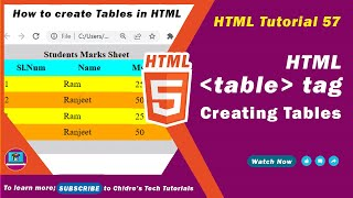 HTML video tutorial - 57 - html table tag , html tr tag and html td tag Mp3
