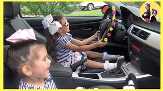 We are in the Car Wheels On The Bus Song Sam and Abby Pretend Play | Nursery Rhymes & Kids