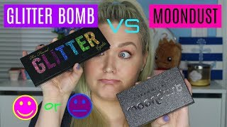 TOO FACED GLITTER BOMB vs URBAN DECAY MOONDUST | Review Swatches Demo