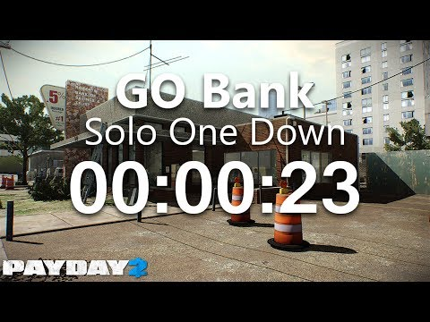 PAYDAY 2: GO Bank - One Down Solo Speedrun 00:00:23 IGT