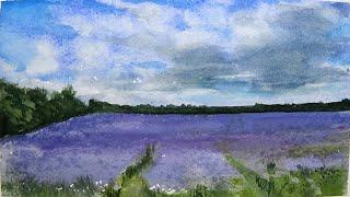 Purple Phacelia Field Watercolour Painting - By Vamos - Slow Life Art