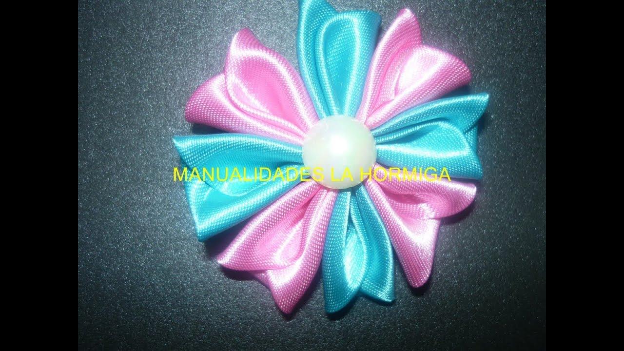 Como hacer flor de tela kanzashi how to make kanzashi - Como hacer flores ...