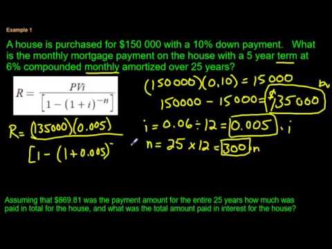 Calculating a Mortgage Payment (using a formula) - YouTube