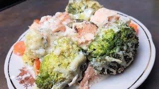 Рыба в духовке с брокколи!!