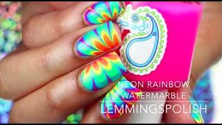 Neon Rainbow Watermarble