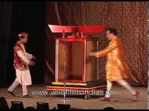 Indian magician, P C Sarkar Jr. shows his famous magic trick, ' The Golden Light'