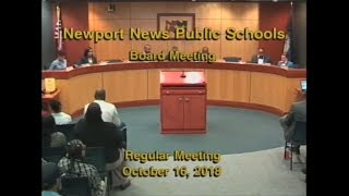School Board Meeting: October 16, 2018