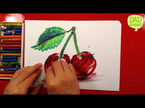 How to draw cherries / Art for kids / Oil Pastels