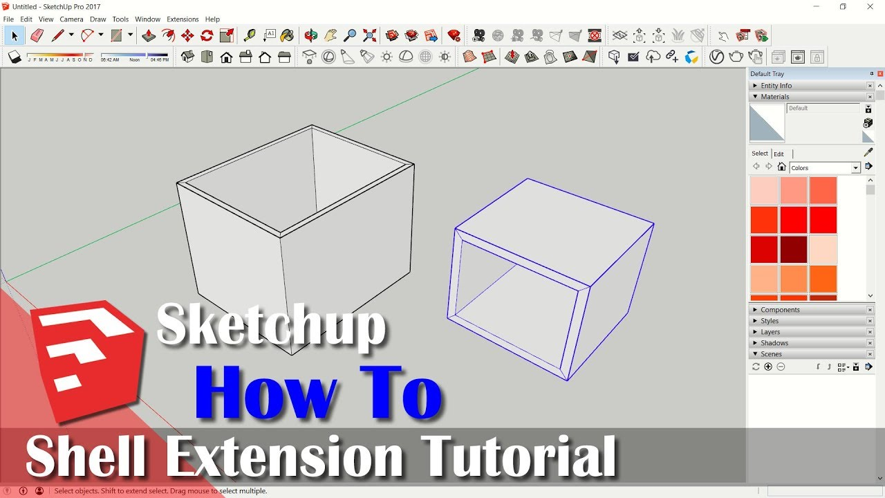 How To Shell In Sketchup With Extension Youtube