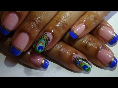 short nails blue peacock feather nail design  youtube