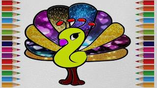 Learn Coloring | Peacock Coloring Pages For Kids Step By Step |easy Method Drawing for Children|