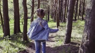Girl Runs In The Forest Stock Video
