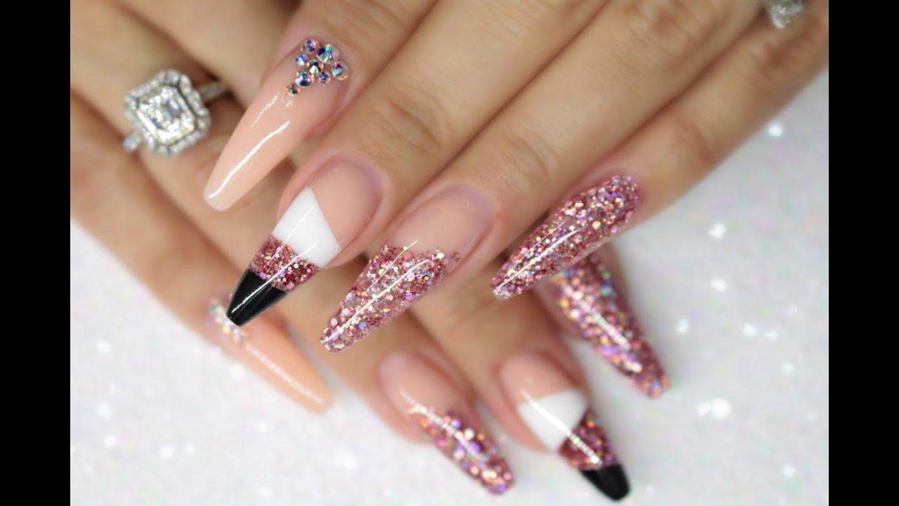 Acrylic Nails Notpolish Cut Out Design Pink Glitter