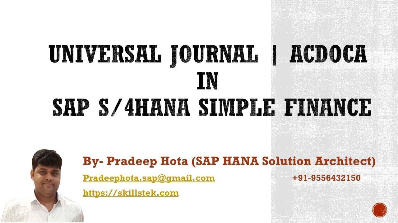 SAP S4 HANA Simple Finance Online Training - By Pradeep Hota