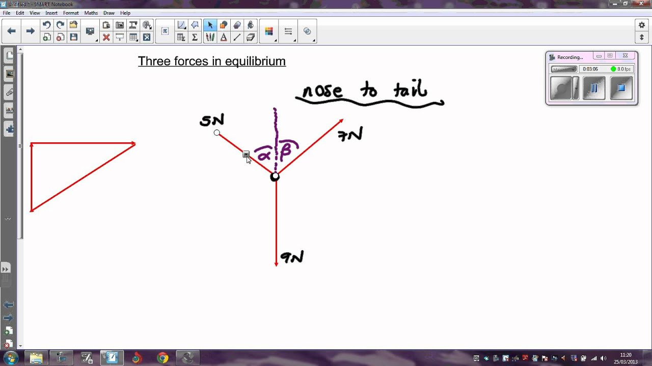 Three forces in equilibrium - an easy method