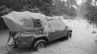 Heavy Snow camping iฑ a Kodiak truck bed tent