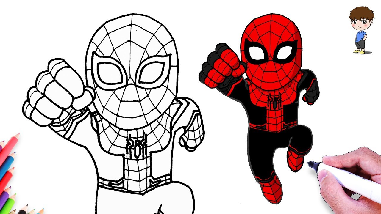 New Suit Spiderman Drawing How To Draw Spiderman Spider Man Far From Home