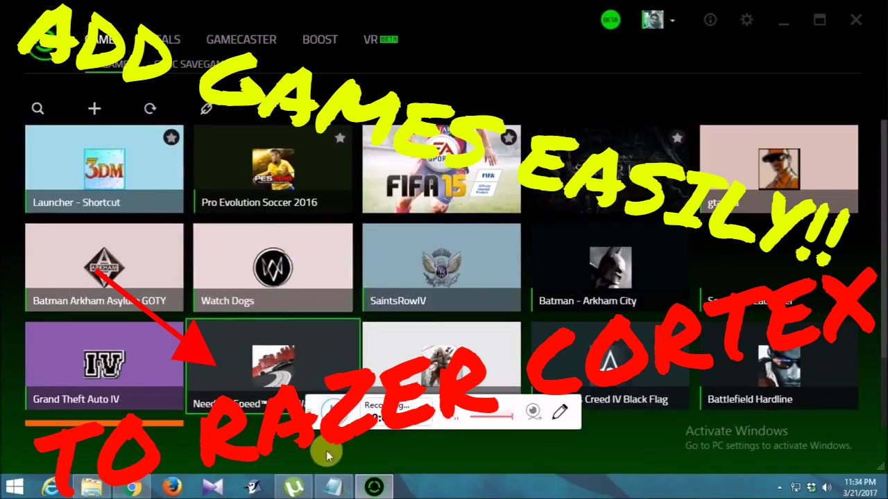 How to manually add games to Razer Cortex! Works on updates!