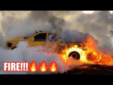 I SET MY TRUCK ON FIRE DOING A MASSIVE BURNOUT!!!!