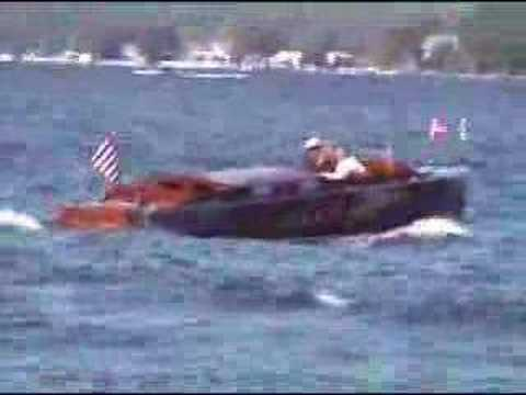 Antique and Classic wood boats on Lake Hopatcong, NJ