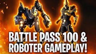 BATTLE PASS LEVEL 100 & ROBOT GAMEPLAY! SEASON X! 🔥 | Fortnite: Battle Royale