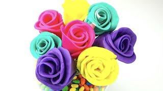 Пластилин для детей. Лепим букет роз из пластилина плей-до. Игрушки ТВ