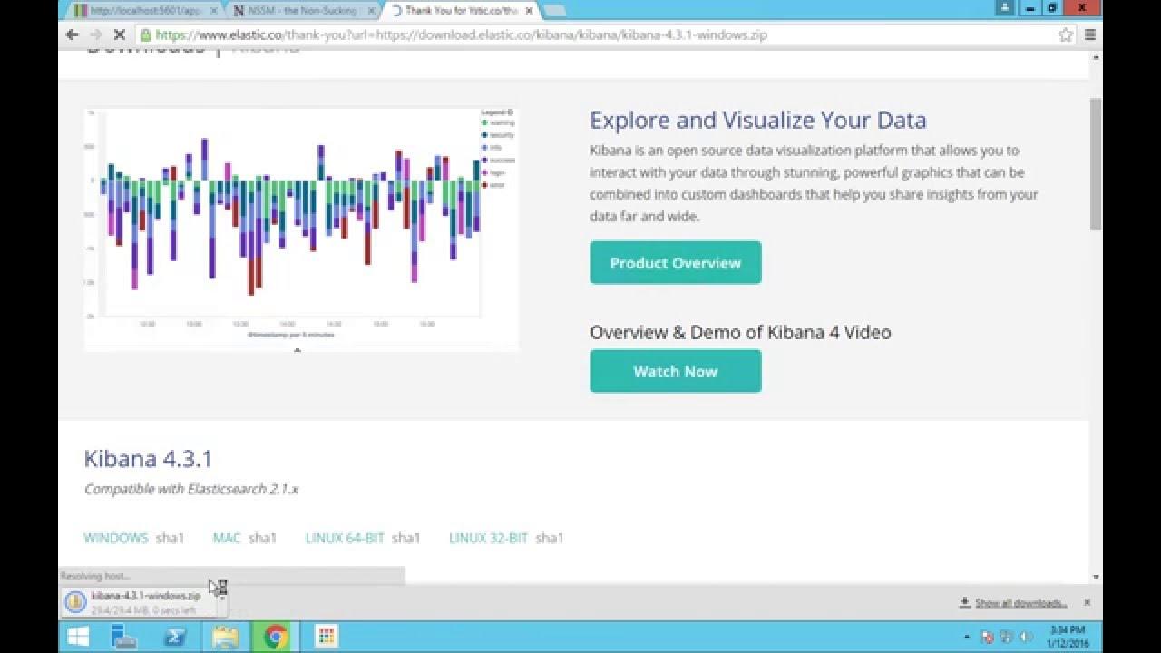 Running Kibana as a service in Windows - ELK Stack - Video 2