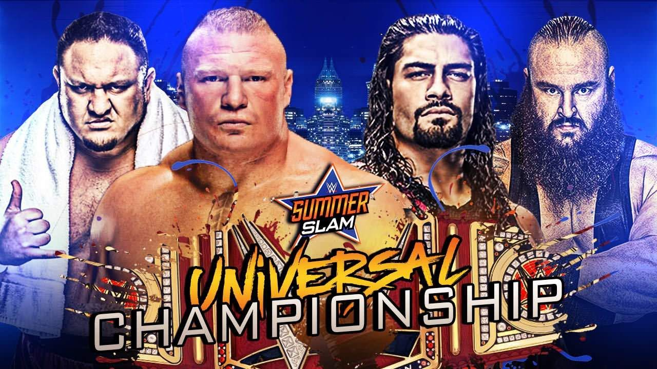 Image result for Brock Lesnar vs. Braun Strowman vs. Samoa Joe vs. Roman Reigns – WWE Summerslam