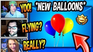 """STREAMERS REACT TO *NEW* """"BALLOONS"""" *FLY UP IN THE AIR* Fortnite FUNNY & SAVAGE Moments"""