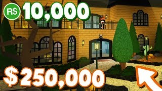 SPENDING 10,000 ROBUX! $250,000 HAUNTED MANSION! | Roblox Bloxburg